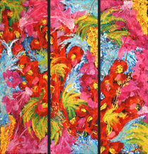 Colorful Triptych Floral Abstract  by Julia Fine Art