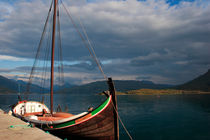 Traditional wooden boat at a Norwegian fjord by Intensivelight Panorama-Edition