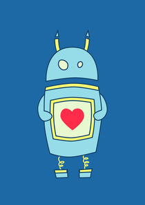 Blue Cute Clumsy Robot With Heart von Boriana Giormova