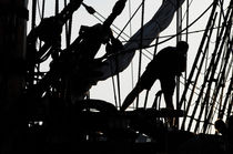 Sillhouette of a sailor on a tall ship von Intensivelight Panorama-Edition