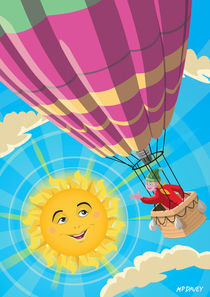 Girl in a balloon greeting a happy sun by Martin  Davey