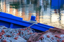 Fishing nets in a blue boat by Intensivelight Panorama-Edition