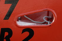 Detail of the hull of a red trawler von Intensivelight Panorama-Edition