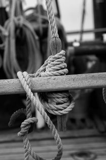 Belaying pin on a sailing ship - black and white von Intensivelight Panorama-Edition