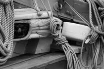 Ropes on an old sailing ship - monochrome by Intensivelight Panorama-Edition