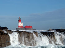 Waves Break at Longstone Lighthouse by Roger Butler