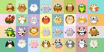 32 Kugeltiere aus der Kugeltiere serie von Michaela Heimlich