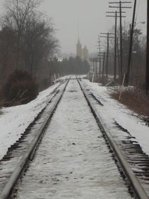 Winter Tracks Into Town by Guy  Ricketts