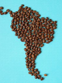 Amerika: Südamerika, Kaffeebohnen, Spaß,Kontinent, Erdteil. America: South America, continent, fun, coffee beans von Dagmar Laimgruber