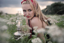 Young girl among flowers. von Ekaterina Planina