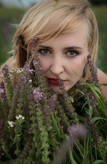young girl among flowers by Ekaterina Planina