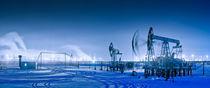 Winter night panoramic oil pumpjack. by evgeny bashta