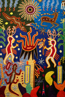 Huichol Yarn Painting Mexico by John Mitchell