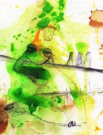 Frosch grün lustig betrunken von Conny Wachsmann