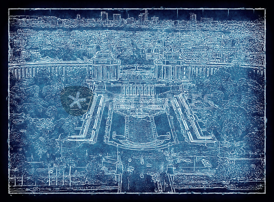 Blueprint paris 2 digital art art prints and posters by leopold blick eifelturm trocadero palais de chaillot v2 blueprint malvernweather