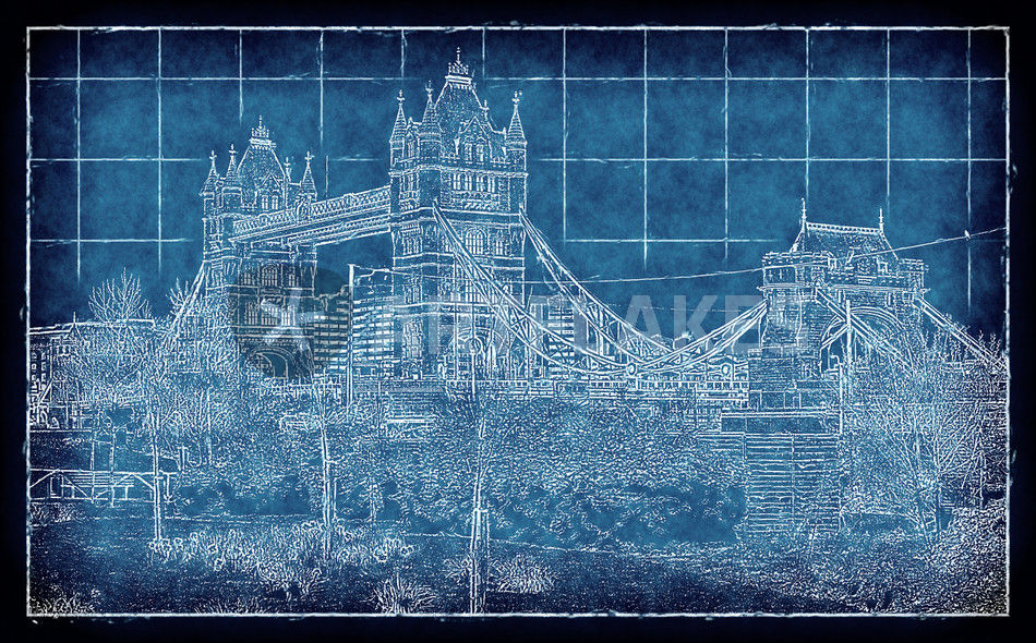 Blueprint london digital art art prints and posters by leopold tower bridge fruehling blueprint v2 1994 malvernweather Gallery