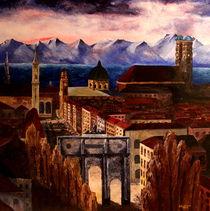München mit Alpenpanorama by M.  Bleichner