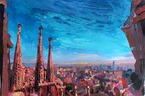 Barcelona Stadtansicht mit Sagrada Familia von M.  Bleichner