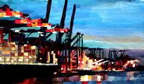 Hamburger Hafen mit Container Schiffen by M.  Bleichner