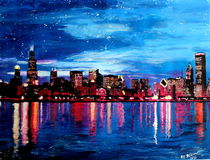 Chicago Skyline at night von M.  Bleichner