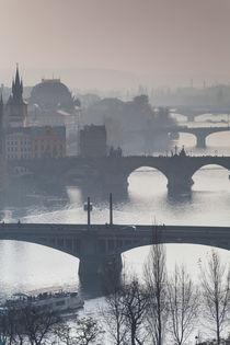 vernebelter Blick über die Moldau von Anne-Barbara Bernhard