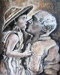 Pablo Picasso, mit Tochter Paloma by Marion Hallbauer