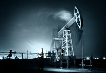 Oil Rig at night. by evgeny bashta