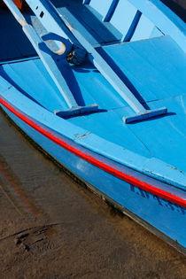 A blue boat detail. by Gordan Bakovic