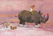 Nashorn im Schnee von Annette Swoboda