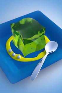 Grüner Glibber an gelber Soße auf blauem Teller von dresdner
