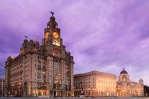 Liverpool Pier Head Purple by Phillip Orr