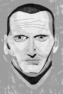 Christopher Eccleston Portrait - Greyscale by Antony McGarry-Thickitt
