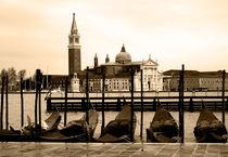 Gondolas and San Giorgio Maggiore, Venice by Linda More