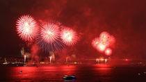 Fireworks over Bosphorus Strait by Evren Kalinbacak