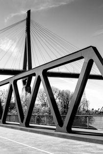 Köhlbrandbrücke Schwarz Weiß - Hamburg Harbour Bridges black and white von kunertus