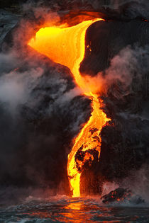 Lava flows into the sea by Johan Elzenga