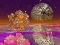 Blob Fraktal und Mond von Frank Siegling