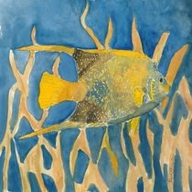 tropical fish square painting by Derek McCrea