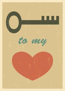 Key to my heart. Mid century poster print. Wedding gift by yaviki