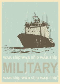 Military ship poster  in retro style. Mid century art with grunge texture. Children art. by yaviki