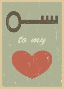Key to my heart. Mid century poster print. Wedding gift von yaviki