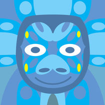 Animal Mask Pattern in Blue Geomety