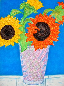 Sunflowers in a Crystal Vase von Christine Chase Cooper