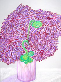Purple Dahlias by Christine Chase Cooper