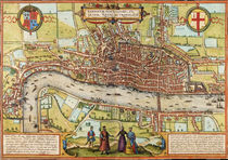 Antique map of London by Braun & Hogenberg by vintage