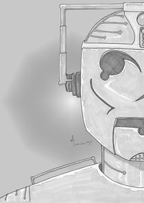Cyber Half-Portrait Greyscale by Antony McGarry-Thickitt
