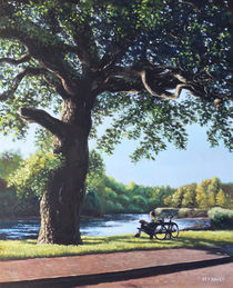 Southampton Riverside park oak tree with cyclist by Martin  Davey