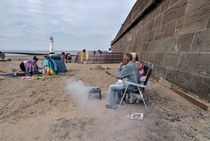 Barbeque on the beach.  Photographed in New Brighton, Merseyside by Robert Brook