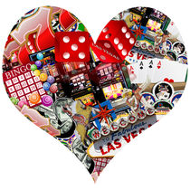 Heart Playing Card Shape - Las Vegas Icons Background  by gravityx9