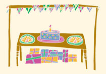 Happy Birthday Table in Bright Colours by Tasha Goddard